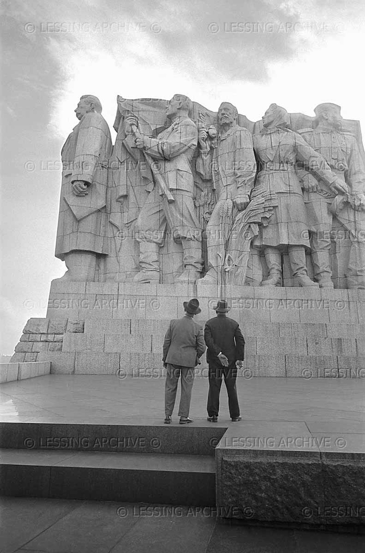 "Two men in contemplation of Prague's ""heroic"" Stalin monument. #Prague,1956."