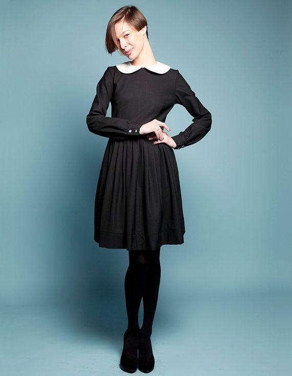 SAINT CLOUD  black woolen dress with  white by mrspomeranz on Etsy, £289.00