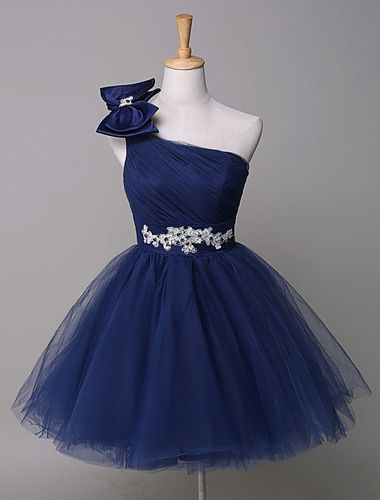 One Shoulder Prom Dress Royal Blue Tulle Homecoming Dress Beading Bow Mini Party Dress
