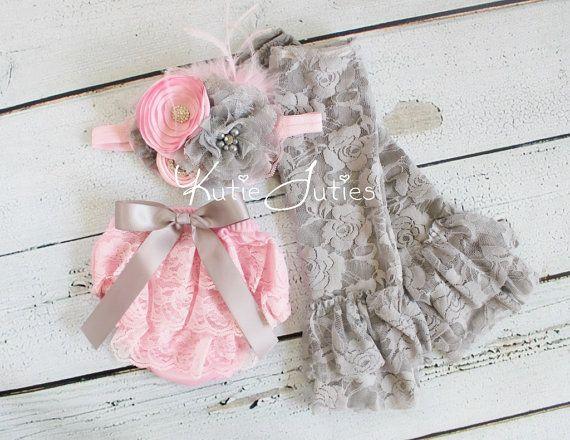 Cake Smash Set- Pink and Gray, Lace Diaper Cover, Headband, Leggings, Pink, bloomers, newborn, baby girl, toddler, birthday, cake smash via Etsy