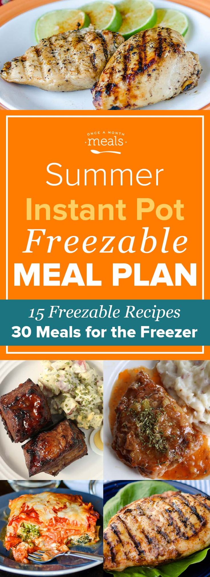 Spicy Firecracker Short Ribs, succulent Ginger Pork Tenderloin, and Cheesy Vegetarian Veggie Lasagna are just a few of the dinners you'll have ready to throw in your Instant Pot with this Summer Freezer Meal Plan!