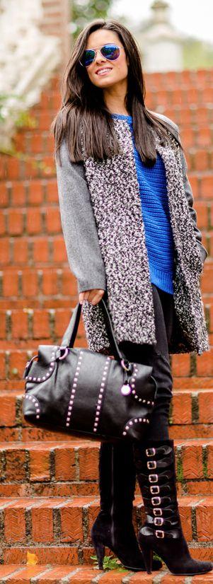 DIY Botas con hebillas Crimenes de la Moda Custom boots - abrigo IKKS coat - gafas de sol espejo Zerouv mirror sunglasses - jersey Suiteblanco sweater - vaqueros American Eagle jeans - bolso BCBG Max Azria bag