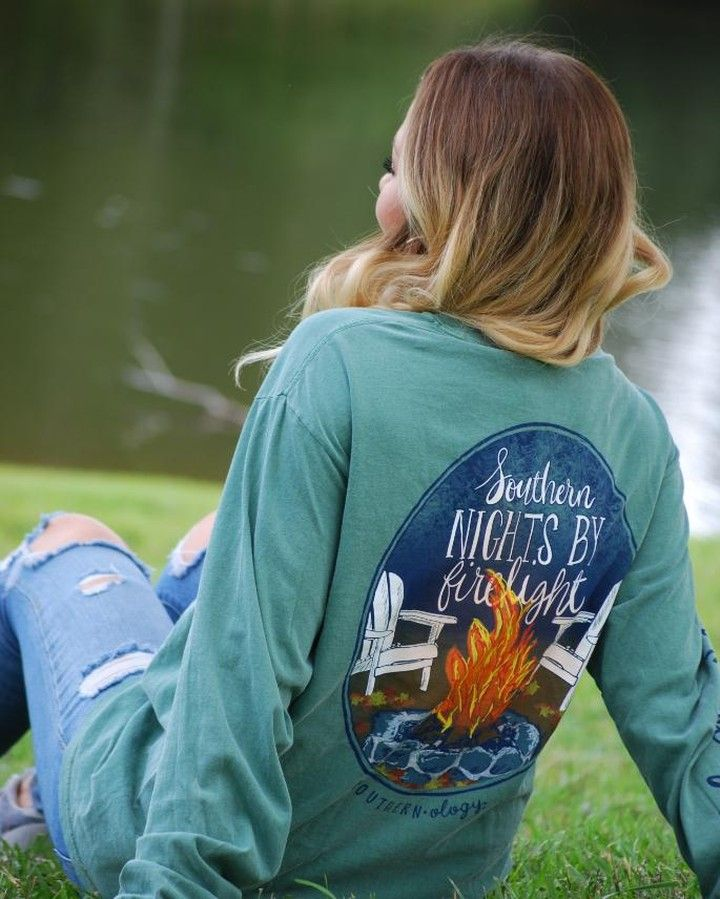 Southern Nights By Firelight Design Is Printed On A Light Green
