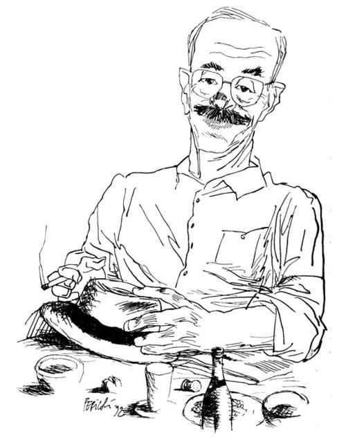 Un disegno, di Tullio Pericoli, in ricordo di Antonio Tabucchi, morto ieri nella sua città tanto amata, Lisbona