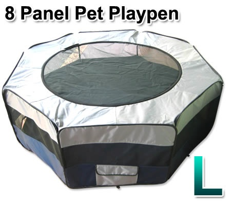 Large Sized Portable Pet Playpen Tent Dog/Cat Kennel 8 Panels   Blue U0026 Grey