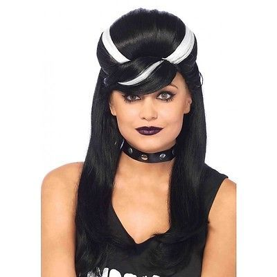 Bride of Frankenstein Frankie Bouffant Wig Womens Long Black and White Wavy Wig