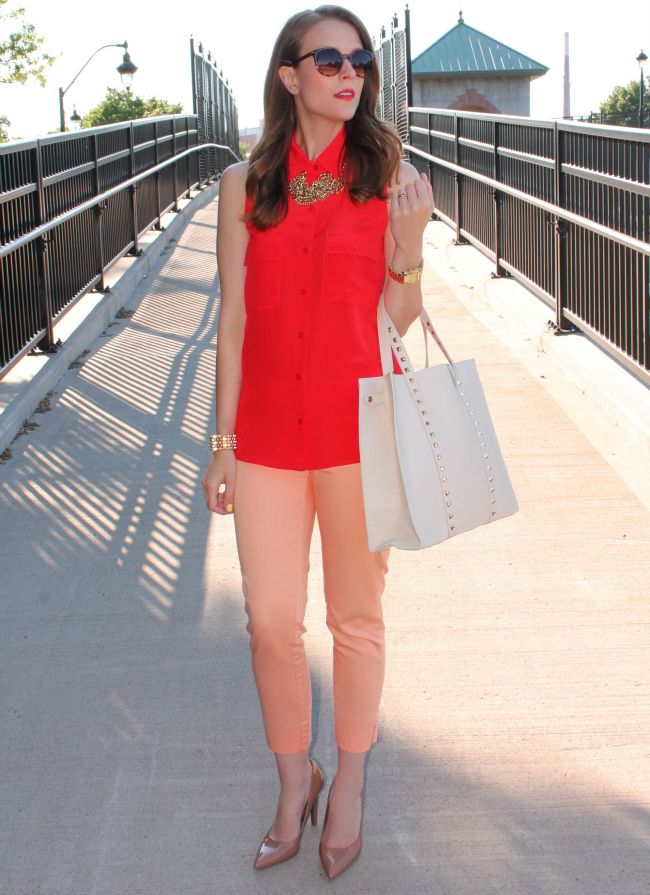 * Coral top & gold necklace & blush jeans & nude pumps & white bag  //  Buttoned Up| Penny Pincher Fashion