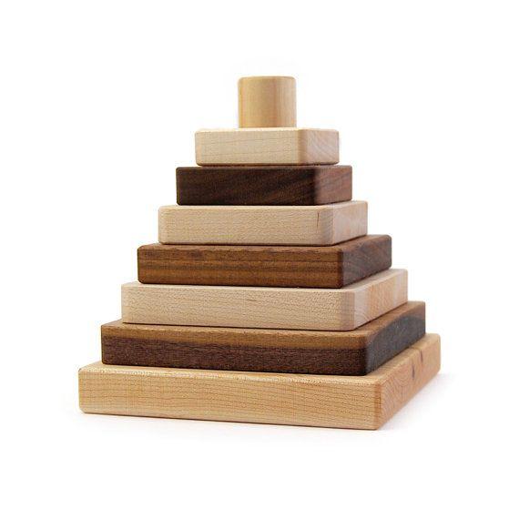 wooden toy sapling stacker, stacking blocks organic kids toy on Etsy