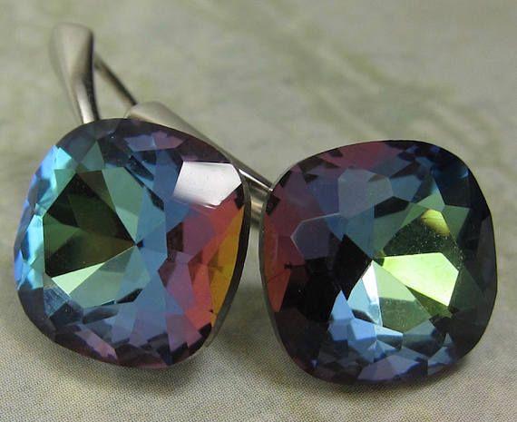 Vintage Vitrail Machine Cut Crystal Stone Earrings Vermeil or