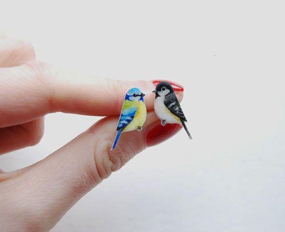 Bird Earrings - Hand drawn - Odd earrings - wren, robin, blue tit, coal tit, chaffinch, goldfinch, sparrow- hipster earrings via Etsy