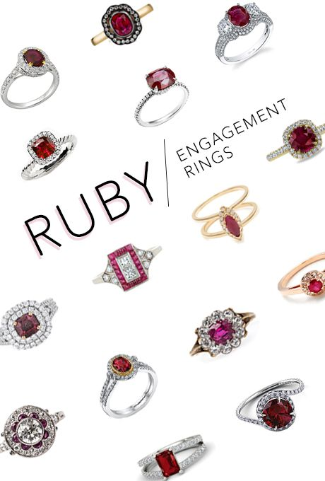 Brides.com: . Rubies may be not be the first stone that comes to mind when thinking about an engagement ring, but they have a long history of symbolizing love, courage, passion and protection. If you're looking for a colorful stone, these fiery red gems with notes of purple are about as timelessly revered as you can get. Rubies, after all, were once the stones of ancient kings and queens, and who doesn't want to look down at their hand and feel like she rules the world? Since a ruby's color…