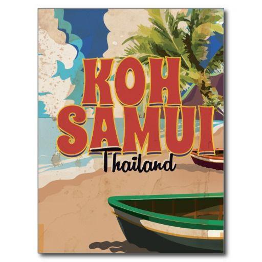 Koh Samui, Thailand Vintage Travel Poster Postcard