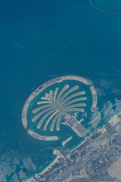 Palm Jumeirah, Dubai from space
