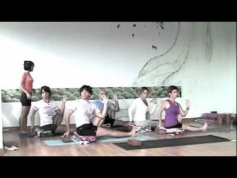 Iyengar demonstration for home practice, several standing and seated poses ~35mins