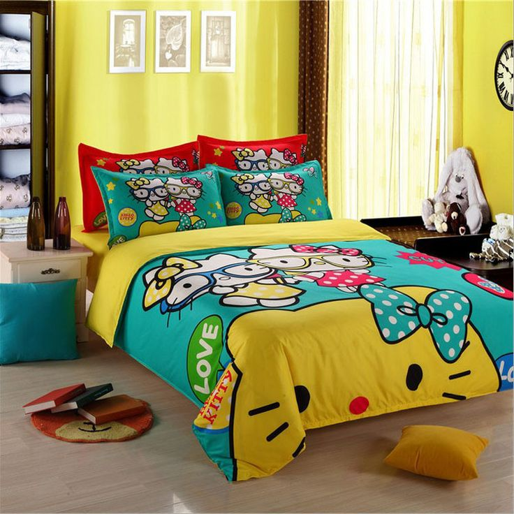 Freeshipping Child Cartoon pattern,Hello kitty bedding sets include duvet cover bed sheet pillowcase