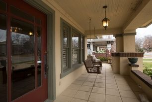 Craftsman Porch with exterior tile floors, Pathway, exterior stone floors, Porch swing