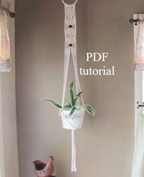 An easy step-by-step tutorial for making your own macrame plant hanger. This macrame pattern is for a pot hanger that is made of 3mm natural cotton cord. The plant hanger measures 50 from the top of ring to bottom of tail and its 3.5 inches wide. The covered ring measures 4. Fits pots from 6 to 10 inches. An instant digital download with illustrated instructions. Perfect for learning the art of macrame! Two PDF files. You must have Adobe Acrobat Reader installed on your computer to open…