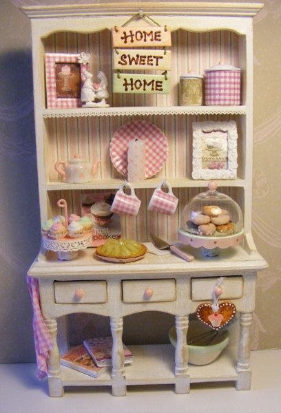 Shabby Doll House | 12th Scale Doll House Pink Shabby Chic Hutch Dresser…