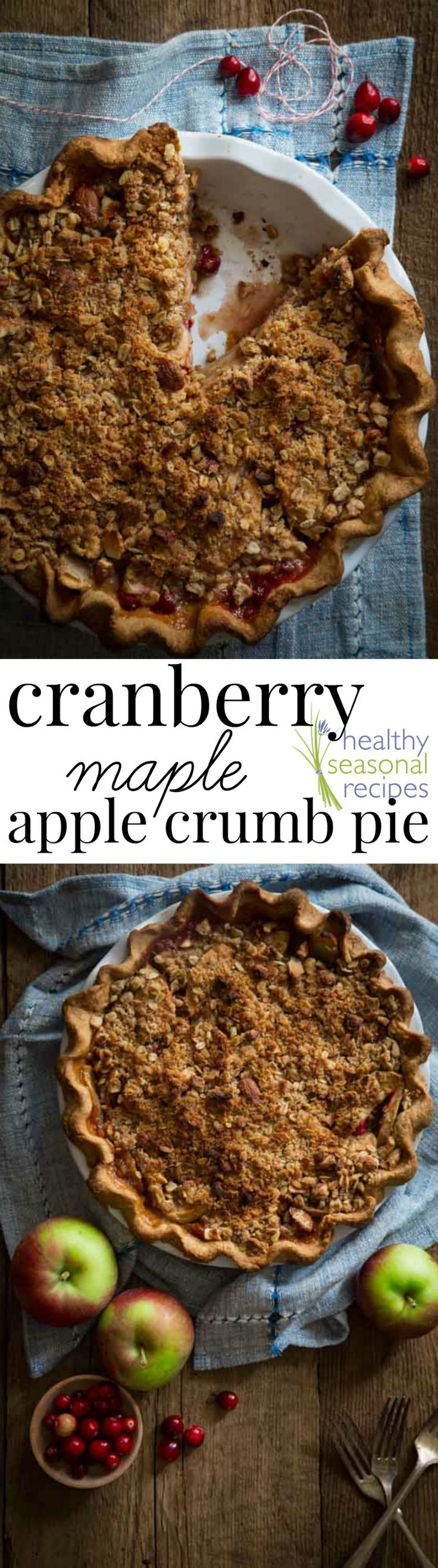 Blog post at Healthy Seasonal Recipes : I've been so excited to share this Cranberry Maple Apple Crumb Pie recipe I have been working on for Thanksgiving. It has a deep dish whol[..]
