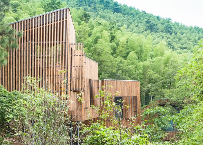 Tree top houses at Garden Valley - Mei Jie Mountain Hotspring resort in Liyang, China. by AchterboschZantman architecten #treehouse #bamboo #forest #wood #shutters #slats