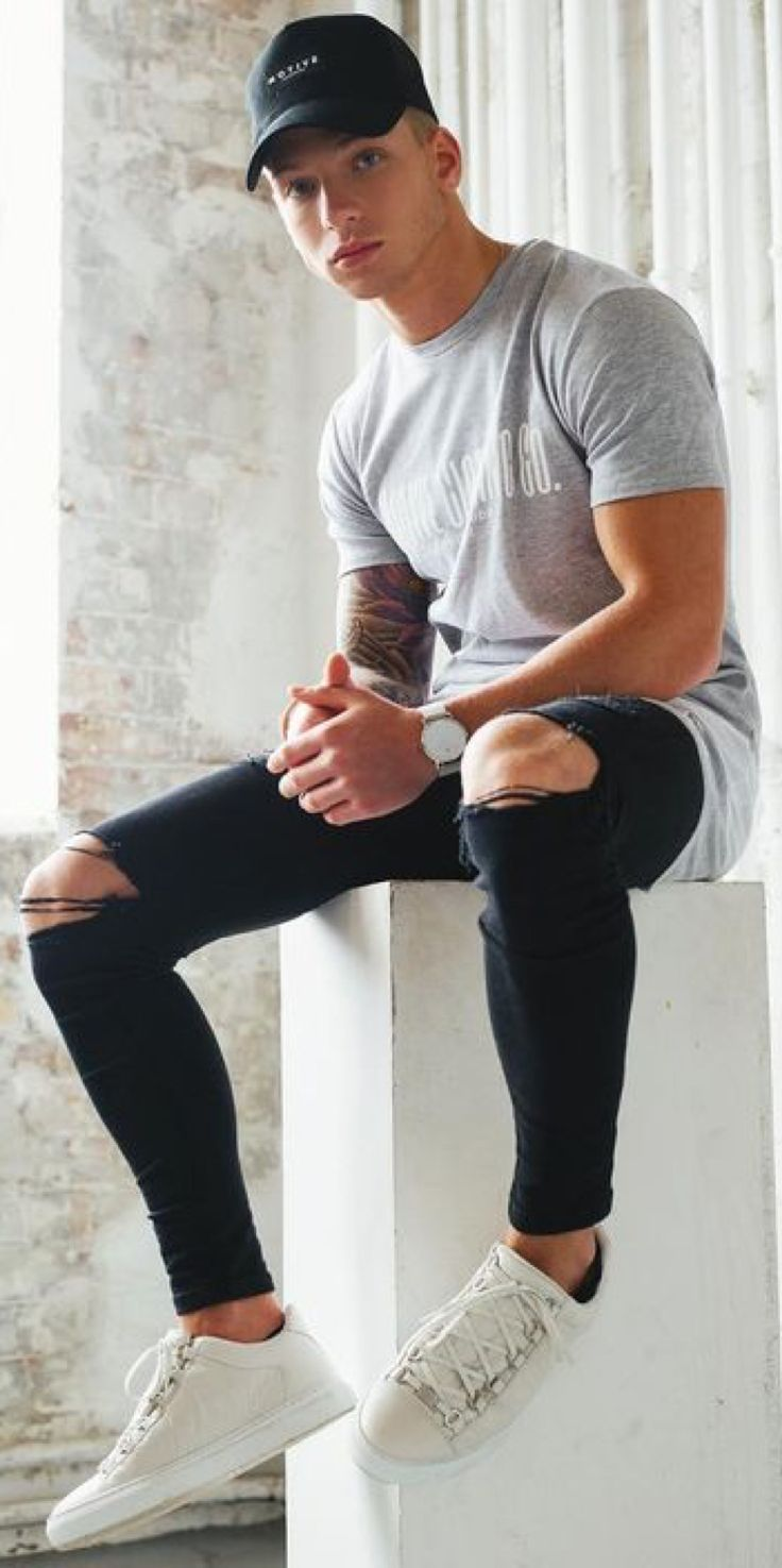 HOT Minimalist Street Style! Grey Printed Tee, Distressed Skinnies, Black Cap, White Runners. Young and Fresh! Follow rickysturn/mens-casual