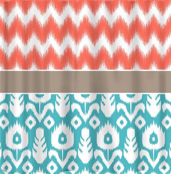 Curtains Ideas coral chevron shower curtain : 17 Best ideas about Chevron Shower Curtains on Pinterest ...