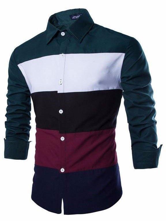 Camisa Juvenil Fashion Casual - Striped Color Mixing - en Verde y Negro