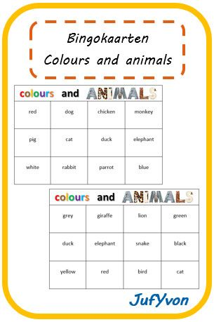 Om op een leuke manier de Engelse woorden voor de kleuren en dieren leren, heb ik een dominospel en een bingospel gemaakt.    Het dominospel...
