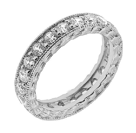 Vintage Eternity Ring Filigree Diamond Eternity Ring by cldiamonds- my new band. Can't wait for it to come in the mail!