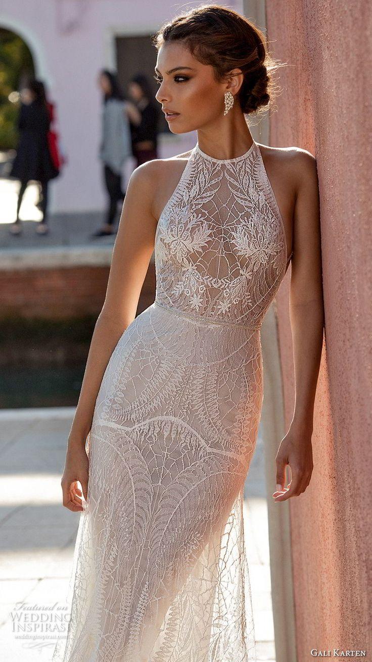 gali karten 2018 bridal sleeveless halter neck heavily embellished bodice elegant romantic soft a line wedding dress open strap back sweep train (11) zv