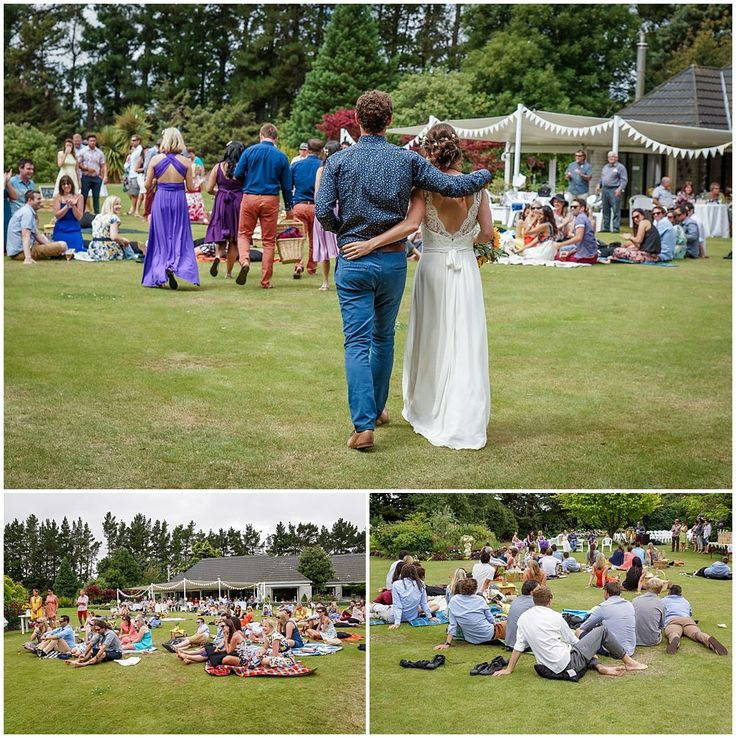 Bride and groom make an entrance onto the lawn to kick off the wedding reception picnic at Hampton Lea Gardens Wedding Venue