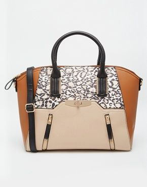 New Look Wendy Bag with Leopard Print and Zip Detail
