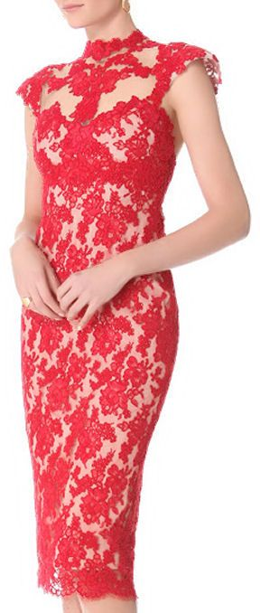 Red Lace Pencil Dress ღ