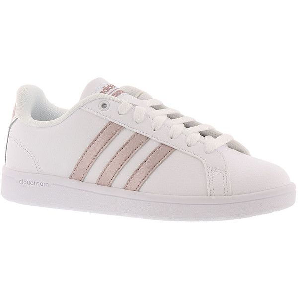 adidas Cloudfoam Advantage Stripe Women's White Sneaker ($65) ❤ liked on Polyvore featuring shoes, sneakers, white, adidas footwear, striped sneakers, striped shoes, adidas and adidas trainers