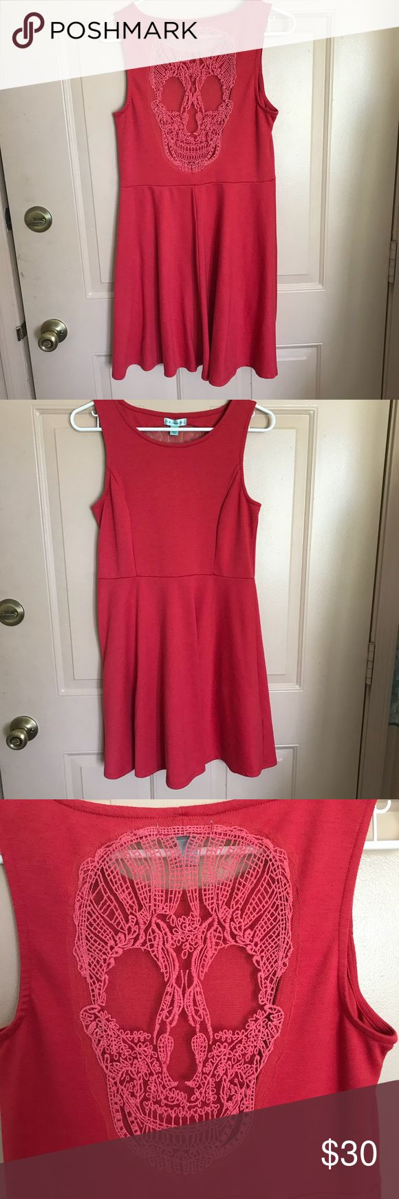 JJ Authentic Skull Skater Dress - Red - Size L This red great skater dress from JJ Authentic has a classic style and an embroidered netting skull on the back.  Size Large  80% polyester 15% rayon 5% spandex Exclusive of decoration  Great stretchy material for a flattering comfortable fit. Dresses Midi