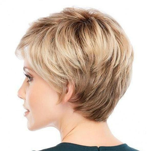 130% Density Lace Front BOB Layered Wig 100% Human Hair Color 18 Ash Blonde -