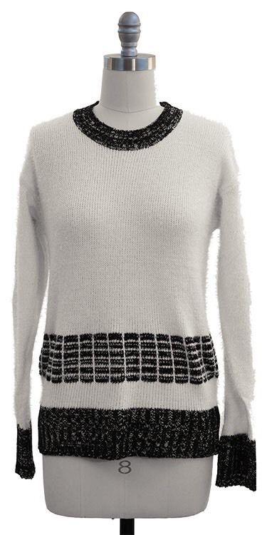 Eyelash Sweater Ivory Black Patterns Womens L NWT #JonAnna #Crewneck
