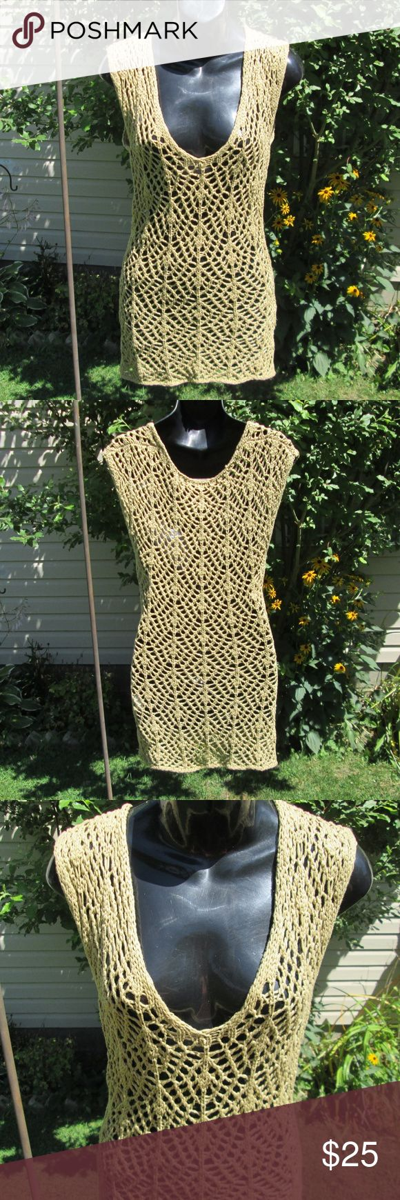 """Halogen* Soft Cotton Open Crochet Shift A very versatile neutral piece, dress it up or down, layer it, use it as a beach dress :)  Measured fat. 14"""" pit to pit. 33' long. On 30"""" x 23"""" x 30"""" mani, loose fit. Halogen Dresses"""
