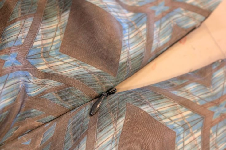 view of zip from back - invisible zip has successfully sewn in.
