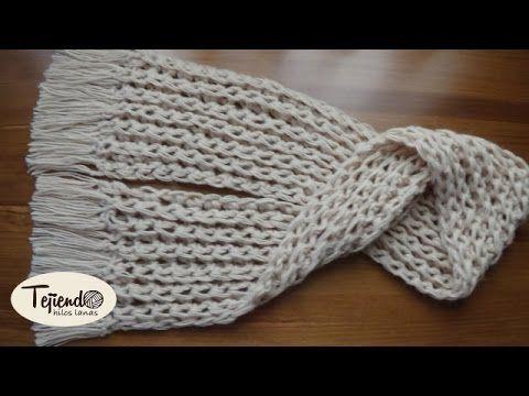 Bufanda tejida con los dedos. - YouTube