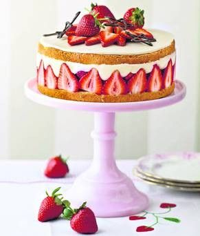 A very elegant looking cake to try.  Mary Berry's Fraisier cake. Recipe can be found at: http://www.bbc.co.uk/food/recipes/fraisier_cake_75507
