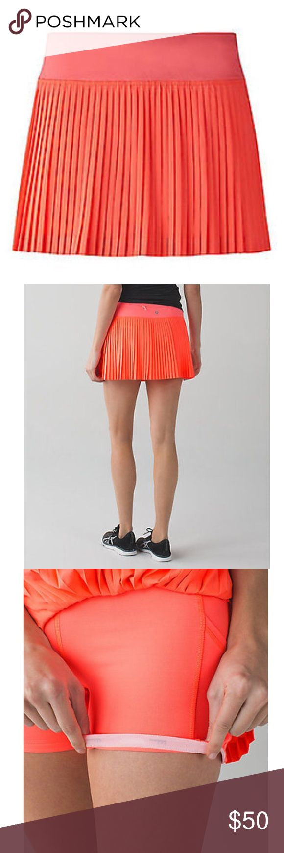 Lululemon orange pleated skirt size 8 Lululemon skort with compression shorts size 8 reg   In good pre loved condition. Stitching In tack. lululemon athletica Skirts