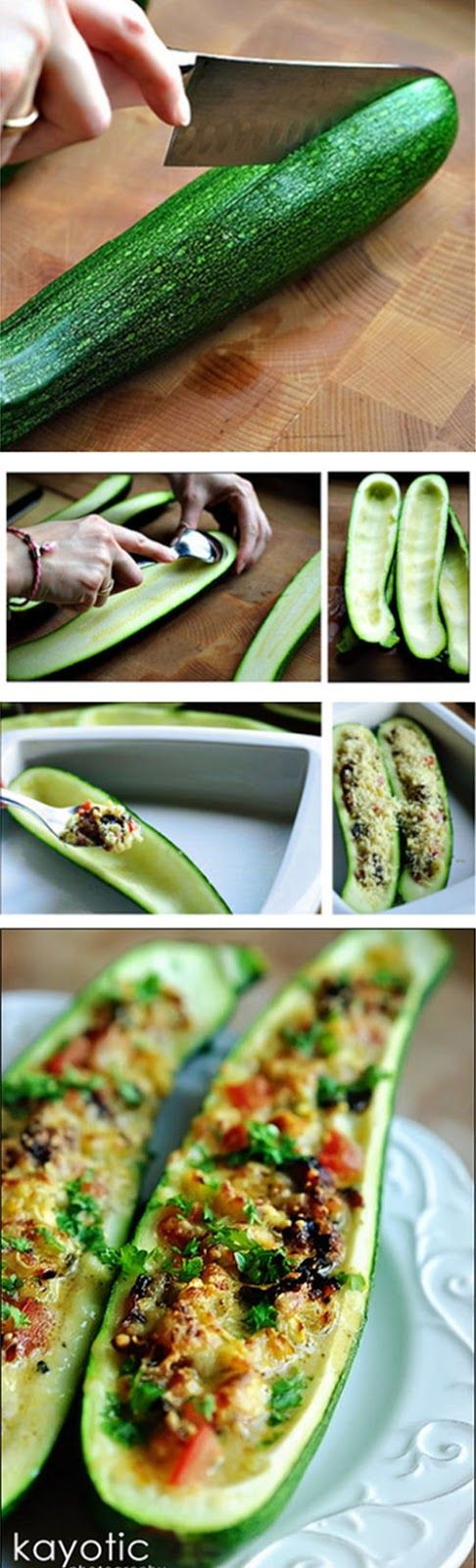 Stuffed Zucchini. I don't cook much but I have actually done something like this and it was so yummy!