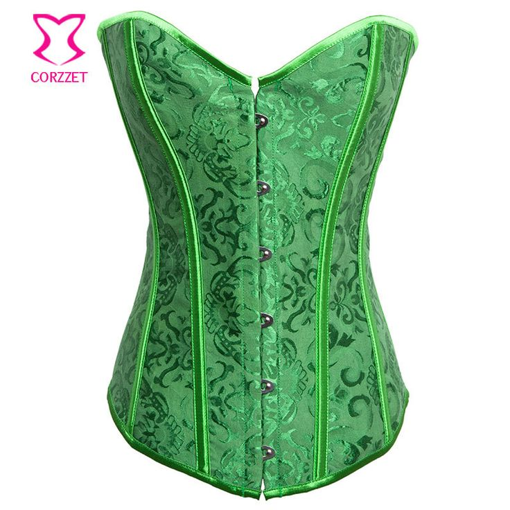 Green Jacquard Waist Trainer Corsets Tight Lacing Push Up Sexy Overbust Corset Gothic Lingerie Women Burlesque Corsetto Bustino