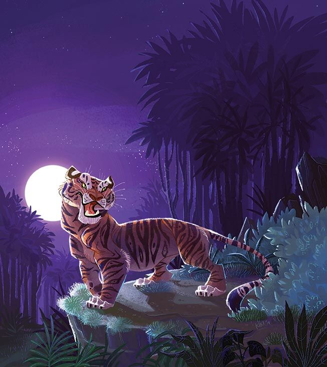Shere Khan - the biggest baddie in The Jungle Book and in Storytime Issue 5! Illustration by Christine Knopp (http://kikidoodle.tumblr.com)  ~ STORYTIMEMAGAZINE.COM