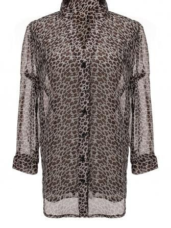 FREE SHIPPING! Leopard Long Sleeve Buttons Chiffon Shirt Blouse SKU020586