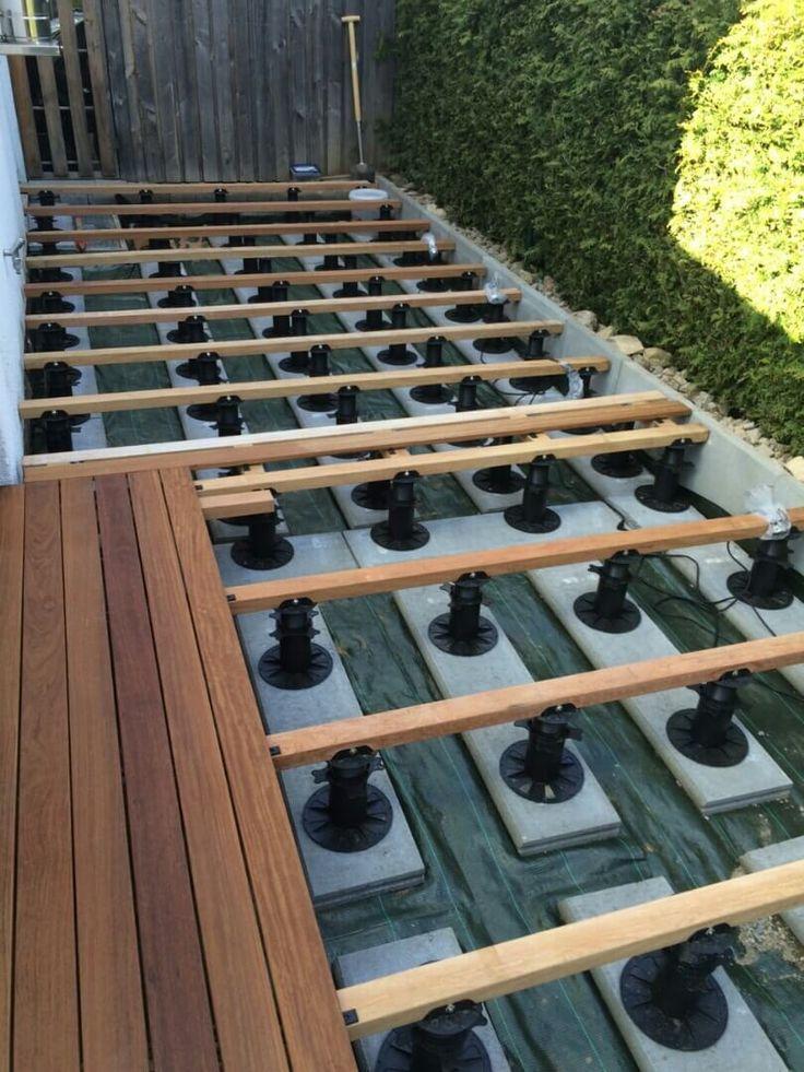 Bauanleitung für das Verlegen und die Montage von Holzterrassen: Konstruktionshölzer für Terrassendielen verlegen und Unterkonstruktion ausrichten.