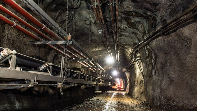 Underground mining at Argyle mine, Australia. A recent view where 40 km of tunneling have been built to access the diamond-bearing lamproite ore.