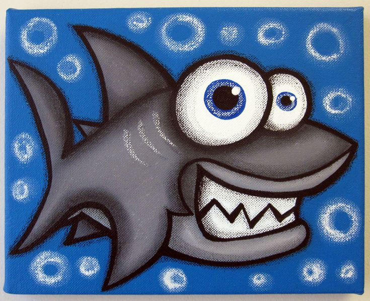 Shark 12 X 16 Original Acrylic Painting On Canvas For