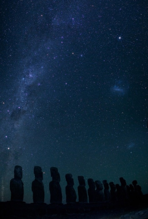 Starry night over Easter Island